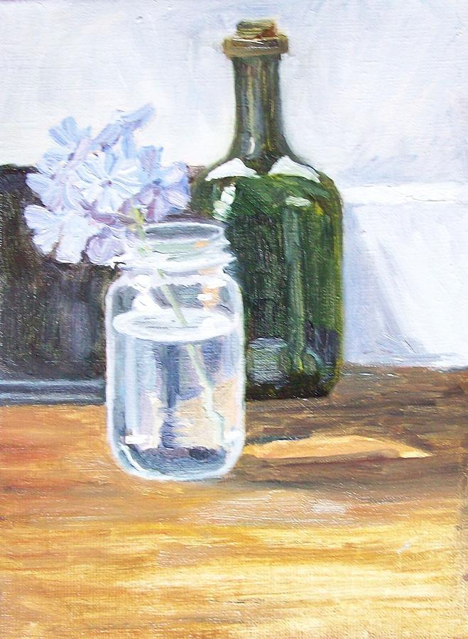 Still Life Painting - Plumbago In Glass Jar by Mary Adam