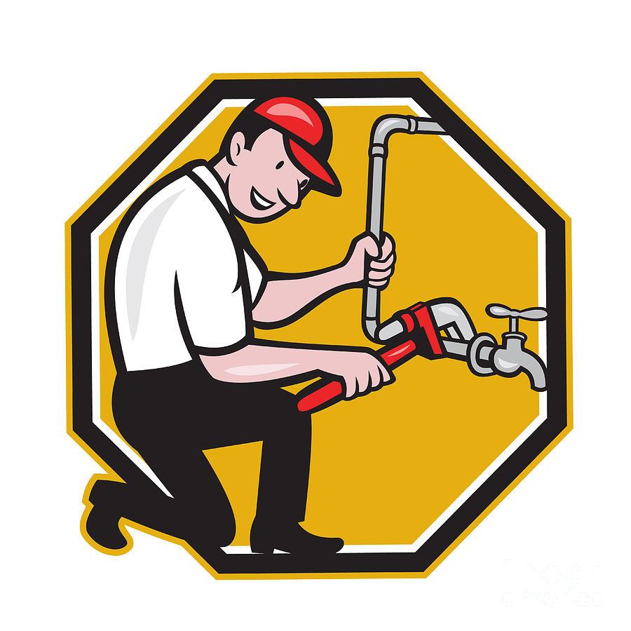 Plumber Digital Art - Plumber Repair Faucet Tap Cartoon by Aloysius ...