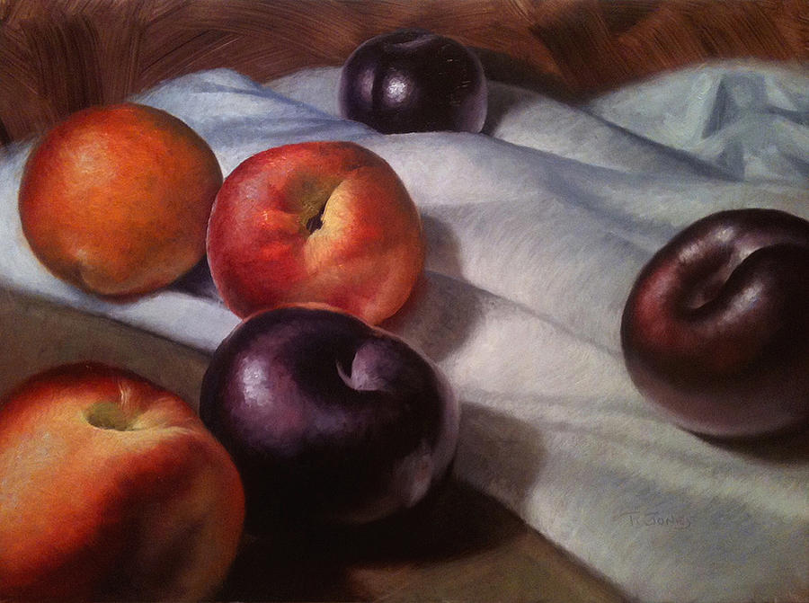 Plums And Nectarines Painting  - Plums And Nectarines Fine Art Print