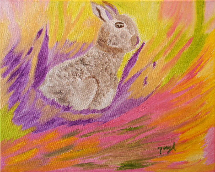Rabbit Painting - Plunge Into Your Painting by Meryl Goudey