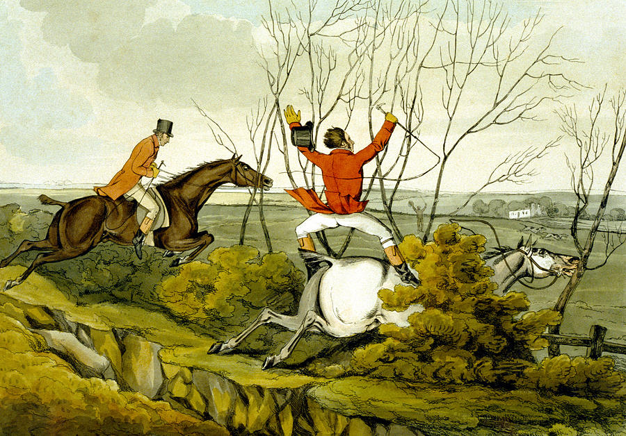 Ditch; Jumping; Grey; Horse; Hunter; Hunting; Rider; Horseback; Unseated; Unhorsed; Falling; Landscape; Accident; Sport; Comical; Humorous Painting - Plunging Through The Hedge From Qualified Horses And Unqualified Riders by Henry Thomas Alken
