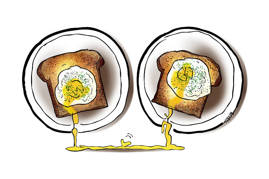 Love Digital Art - Poached Egg Love by Mark Armstrong