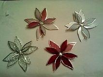 Poinsettia Christmas Tree Ornaments Glass Art
