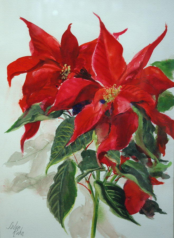 Flowers   Red Poinsettias    Painting - Poinsettia  by Jolyn Kuhn