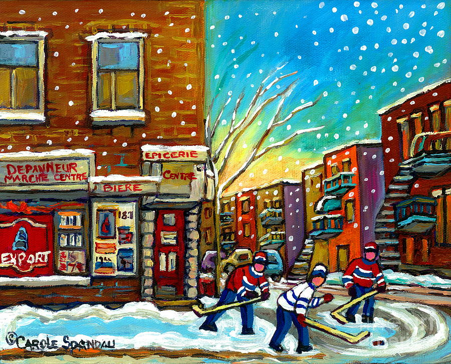 Pointe St. Charles Hockey Game At The Depanneur Montreal City Scenes Painting  - Pointe St. Charles Hockey Game At The Depanneur Montreal City Scenes Fine Art Print