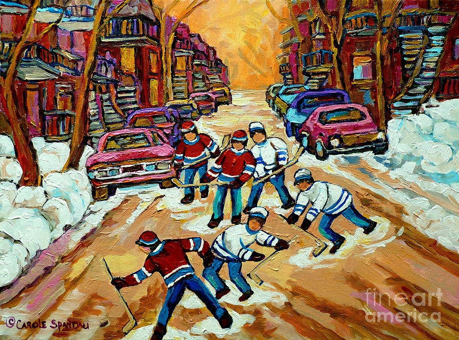 Pointe St.charles Hockey Game Winter Street Scenes Paintings Painting  - Pointe St.charles Hockey Game Winter Street Scenes Paintings Fine Art Print