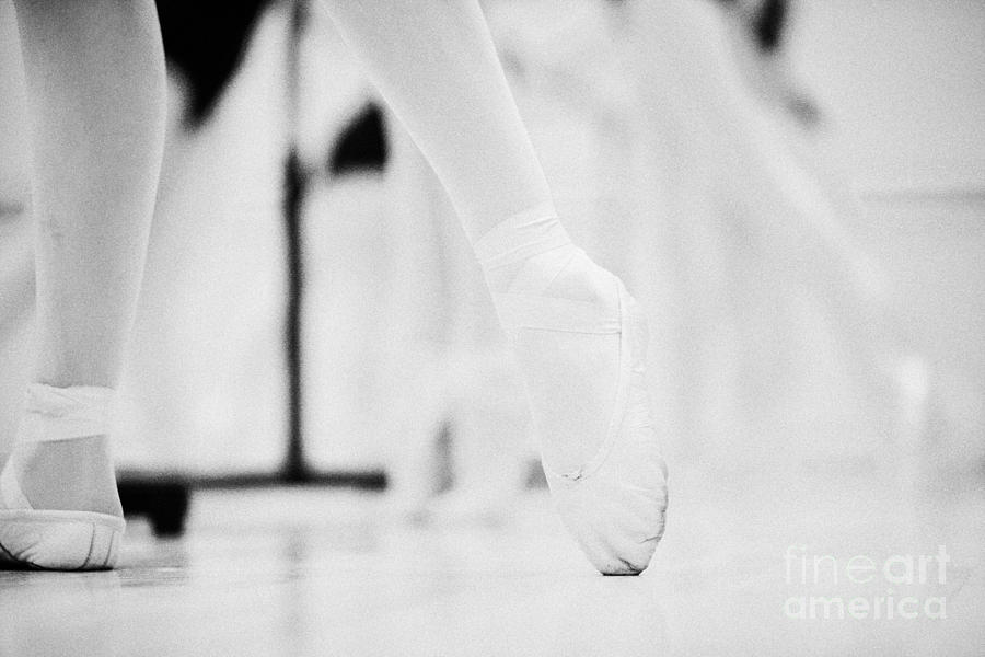 Pointed Toe In Ballet Slippers At A Ballet School In The Uk Photograph