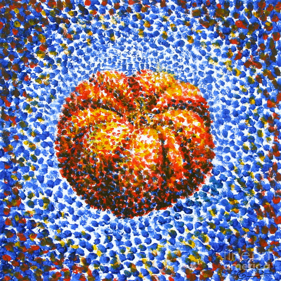 Pumpkin Painting - Pointillism Pumpkin by Samantha Geernaert