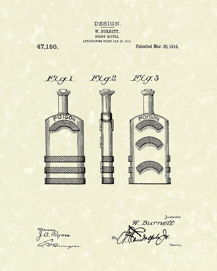 Poison Bottle 1915 Patent Art Drawing