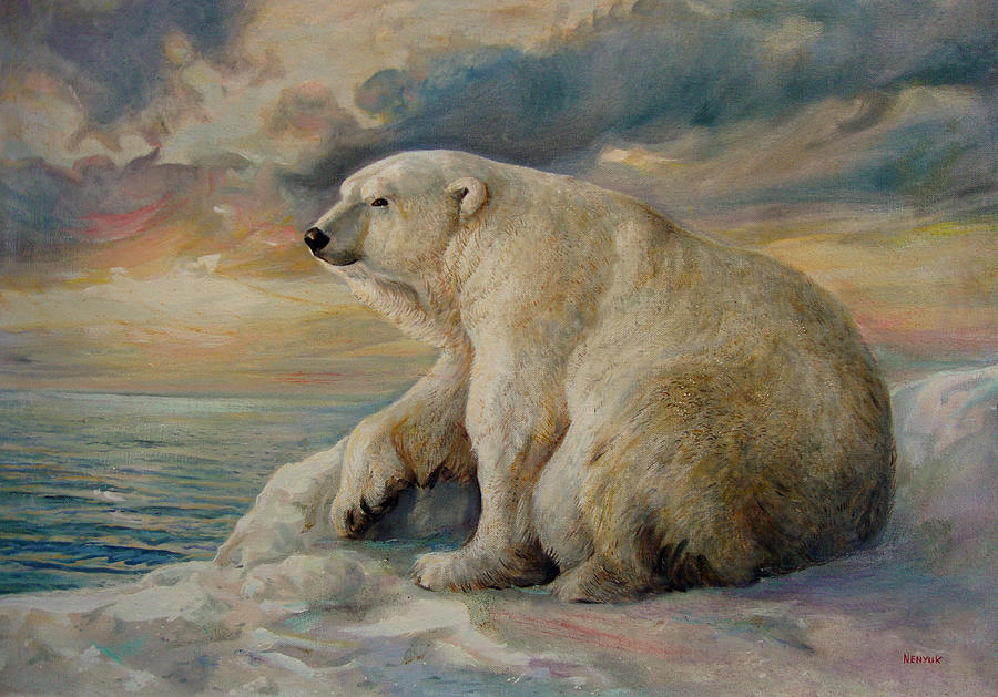 Polar Bear Rests On The Ice. Painting  - Polar Bear Rests On The Ice. Fine Art Print