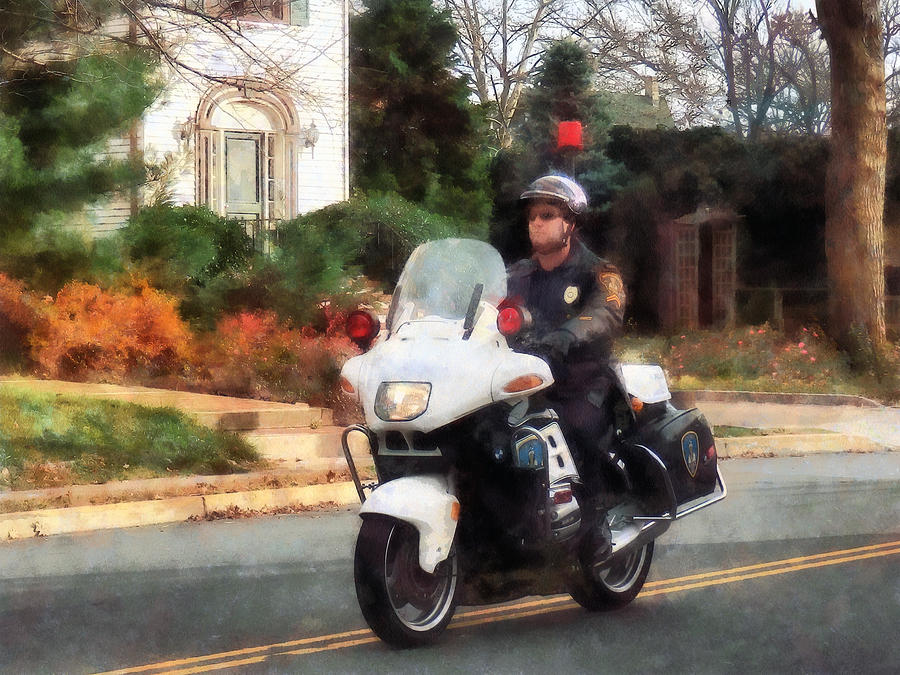 Police - Motorcycle Cop On Patrol Photograph