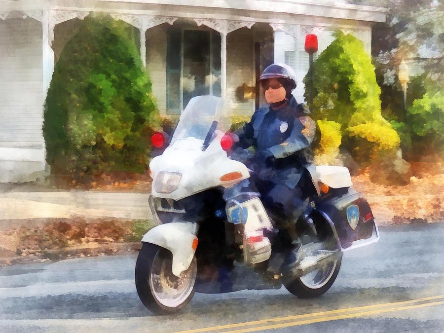 Police Photograph - Police - Suburban Motorcycle Cop by Susan Savad