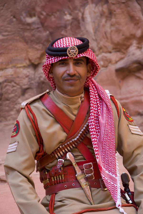 Jordanian Photograph - Policeman In Petra Jordan by David Smith