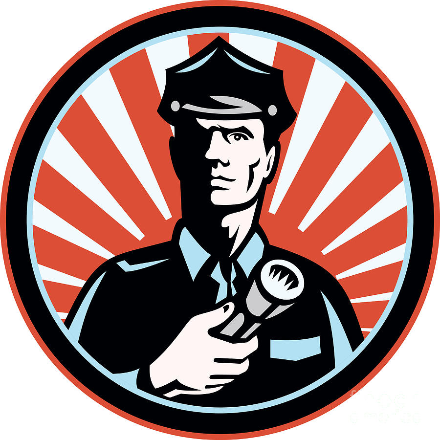 Policeman Security Guard With Flashlight Retro Digital Art