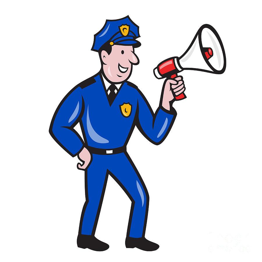 Policeman Digital Art - Policeman Shouting Bullhorn Isolated Cartoon by Aloysius Patrimonio
