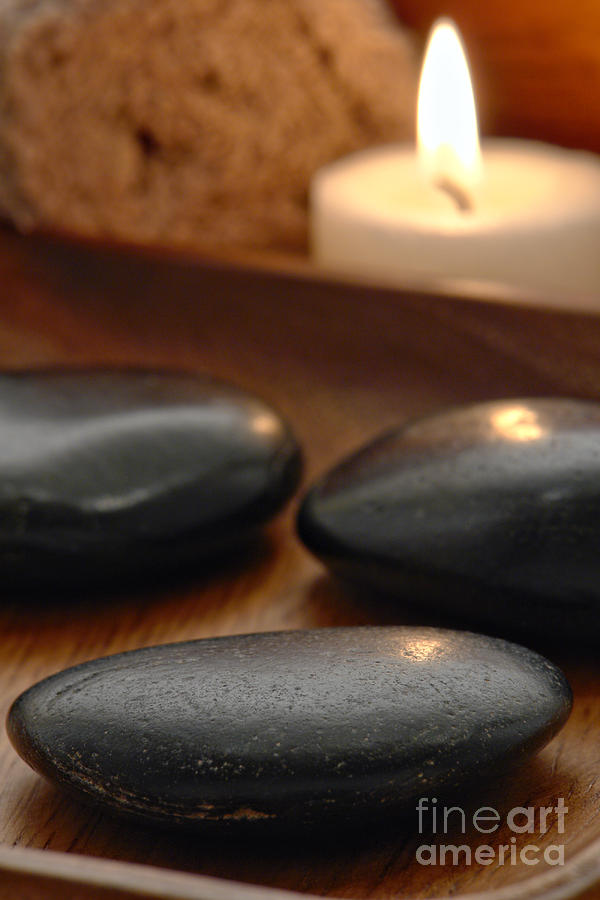 Polished Stones In A Spa Photograph