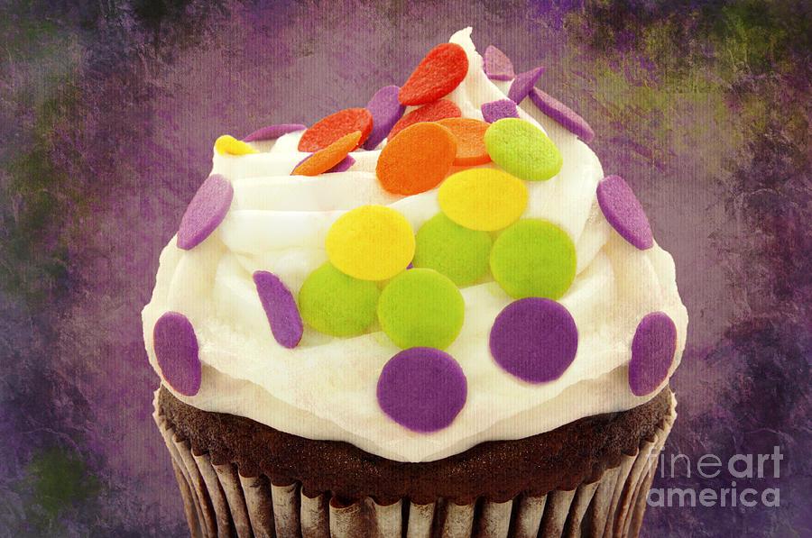 Cupcake Photograph - Polka Dot Cupcake 4 Texture by Andee Design
