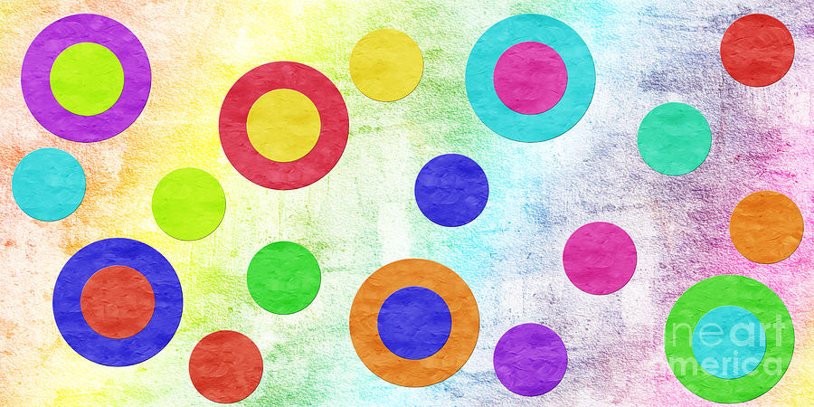 Polka Dot Panorama - Rainbow - Circles - Shapes Digital Art