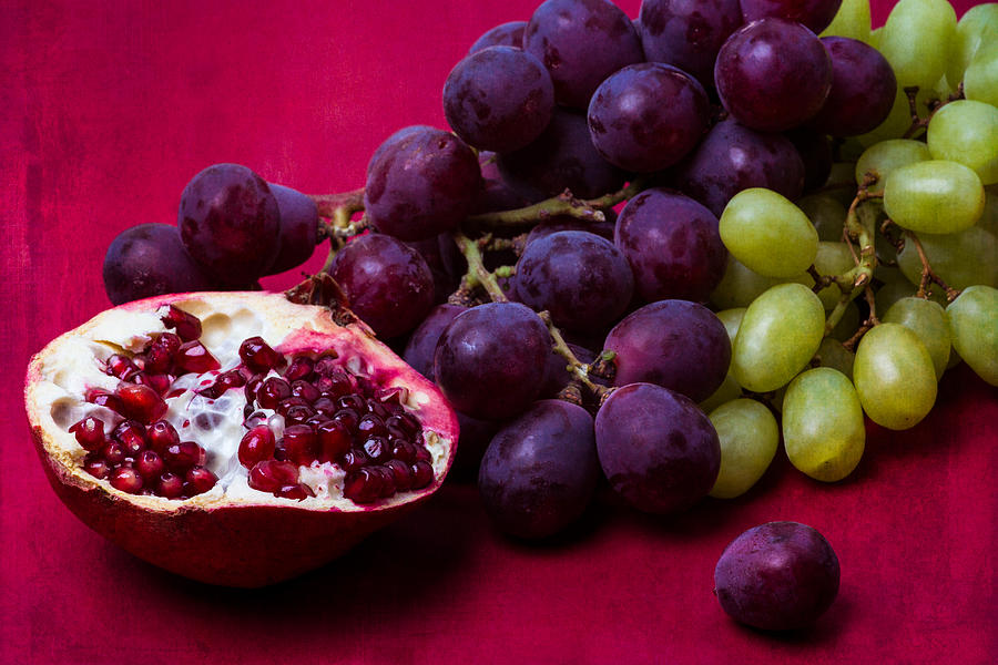 Pomegranate And Green And Red Grapes Photograph