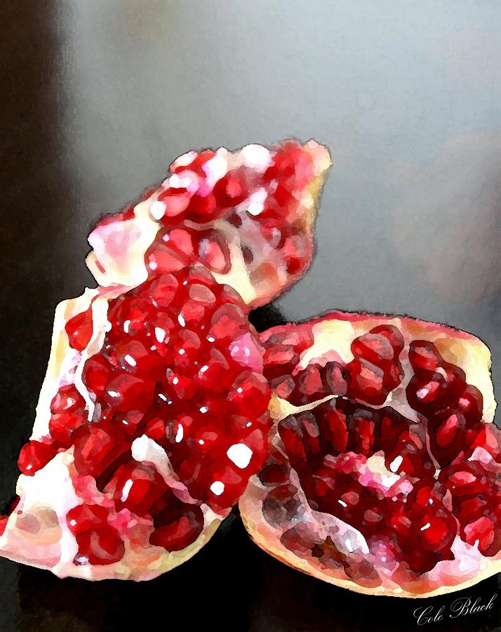 Pomegranate Detail Painting  - Pomegranate Detail Fine Art Print