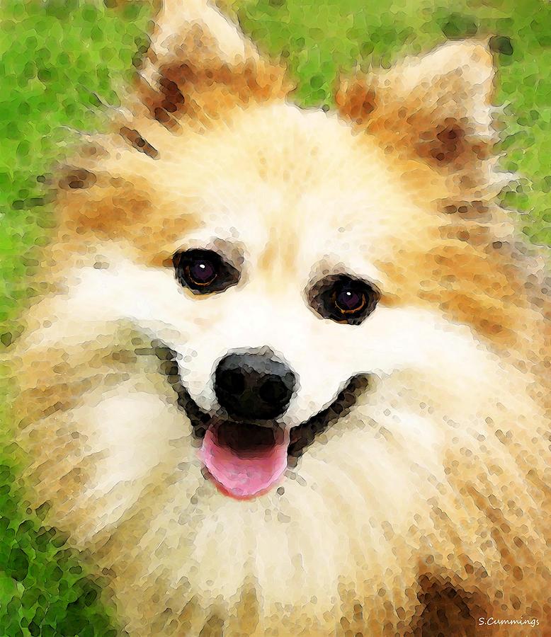 Pomeranian - Bright Eyes Painting