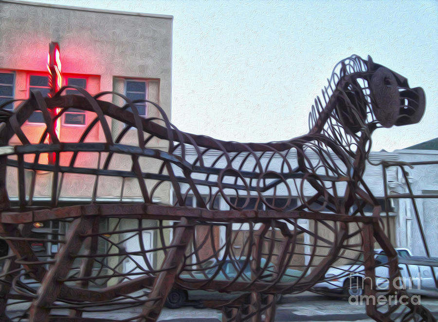 Metal Horse Photograph - Pomona Art Walk - Metal Horse by Gregory Dyer