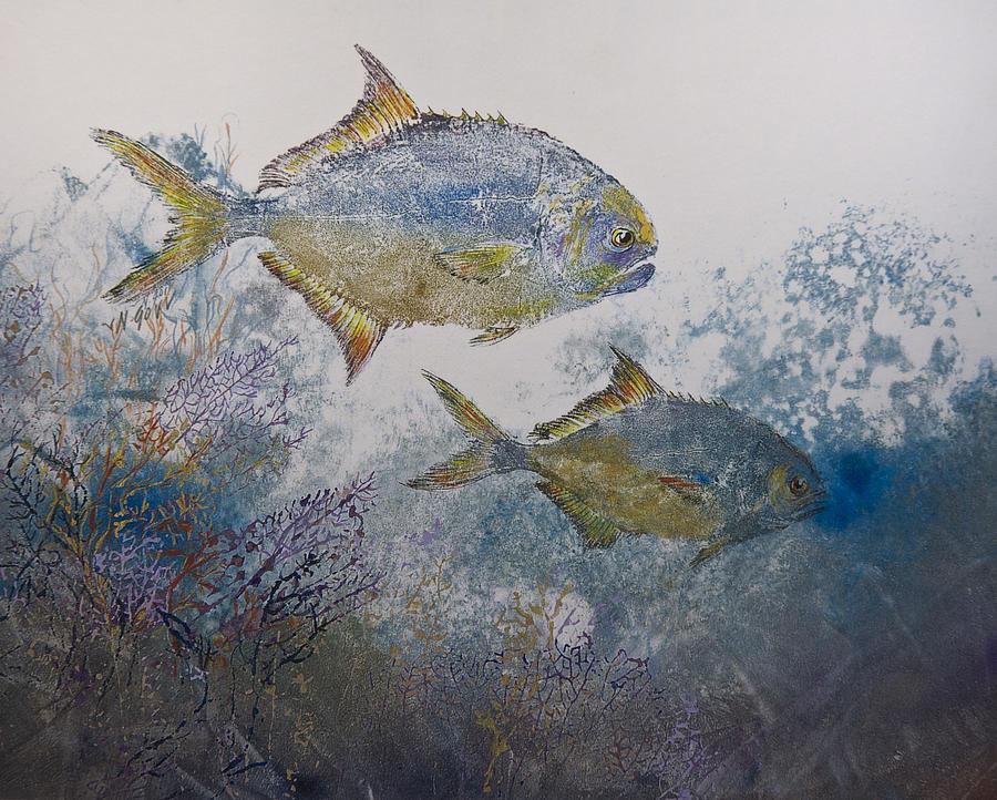 Fish Mixed Media - Pompano And Sea Fans by Nancy Gorr