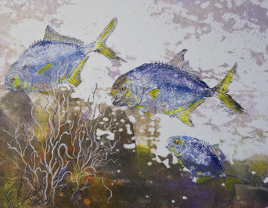 Pompano Trio Mixed Media  - Pompano Trio Fine Art Print