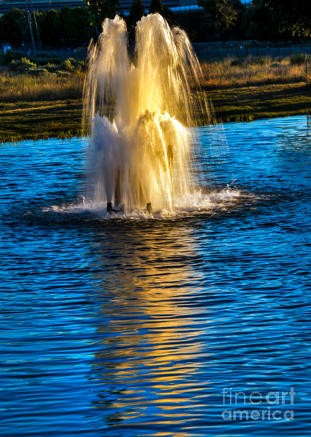 Pond Fountain Photograph  - Pond Fountain Fine Art Print