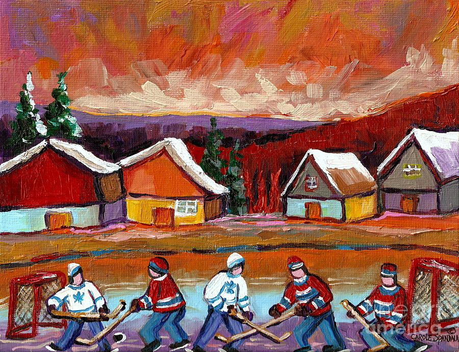 Pond Hockey Game 2 Painting  - Pond Hockey Game 2 Fine Art Print