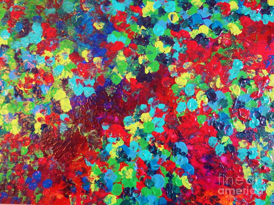 Pond In Pigment Bright Bold Neon Abstract Acylic Floral