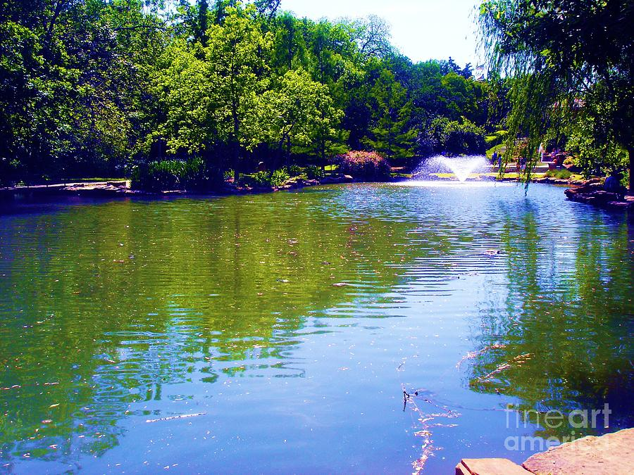 Pond With Fountain Photograph  - Pond With Fountain Fine Art Print