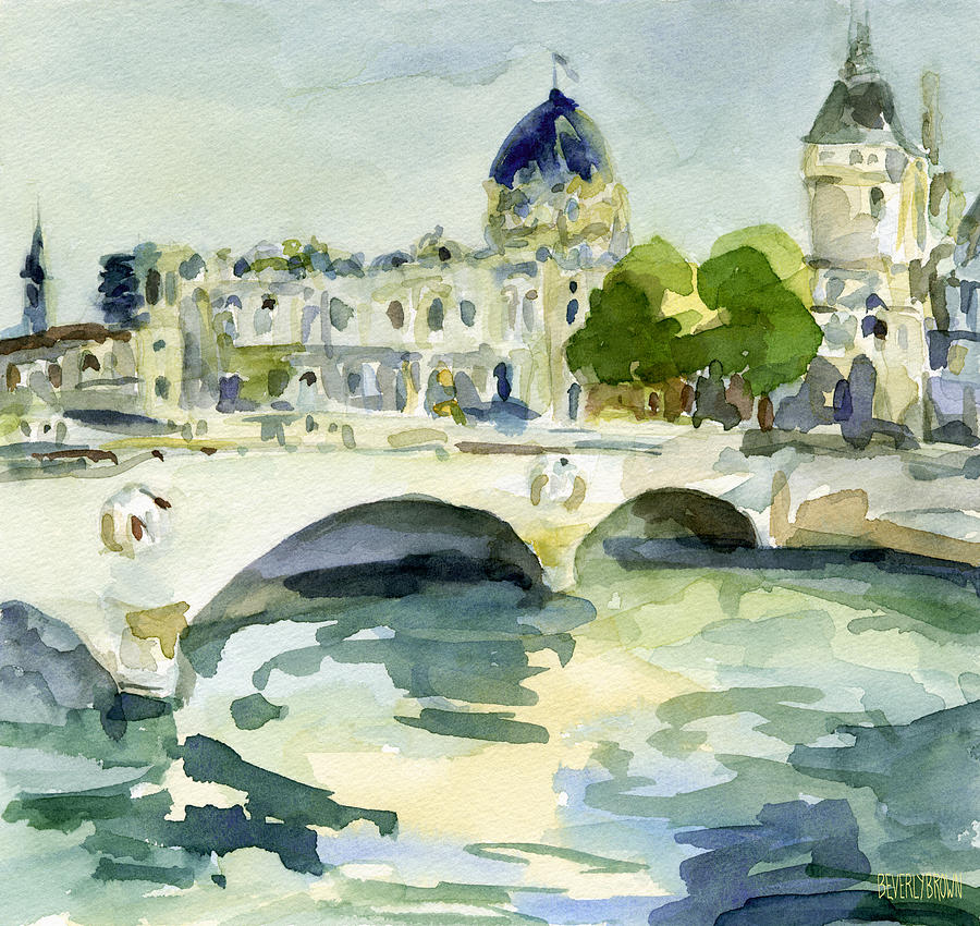 Pont De Change Watercolor Paintings Of Paris Painting  - Pont De Change Watercolor Paintings Of Paris Fine Art Print