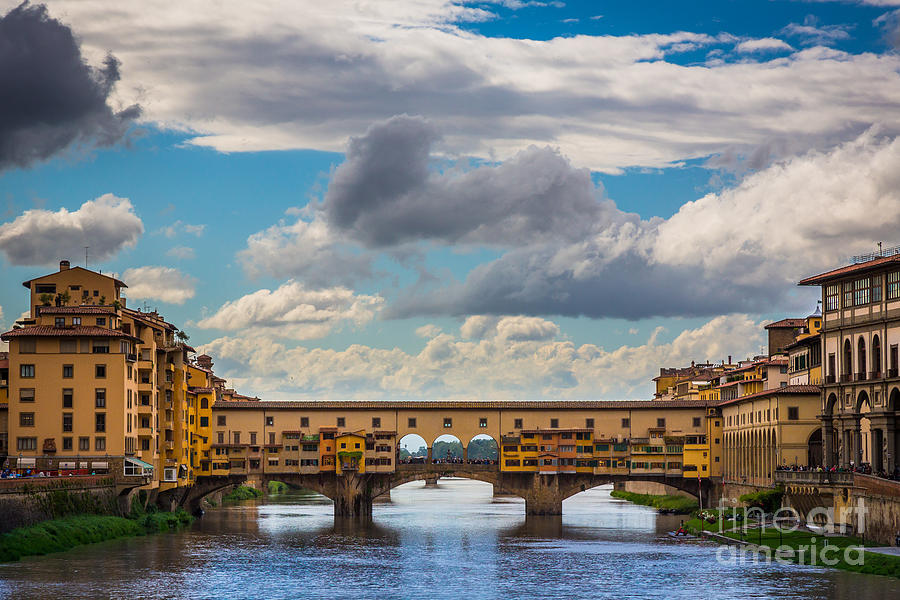 Arno Photograph - Ponte Vecchio Clouds by Inge Johnsson
