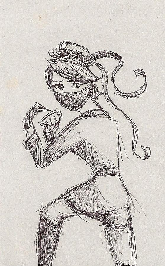Ponytail Ninja Drawing  - Ponytail Ninja Fine Art Print