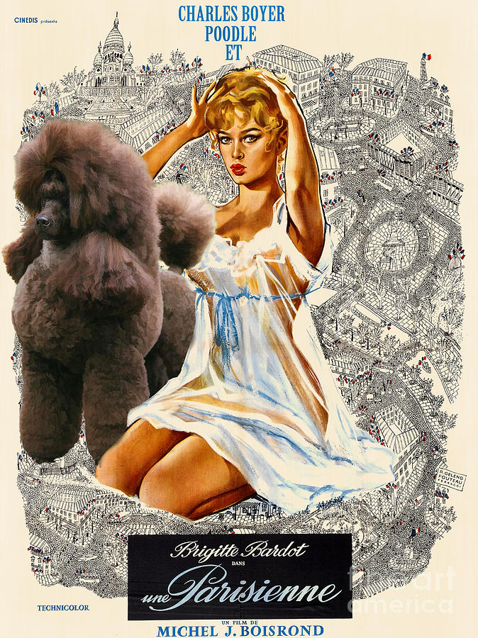 Poodle Art - Una Parisienne Movie Poster Painting