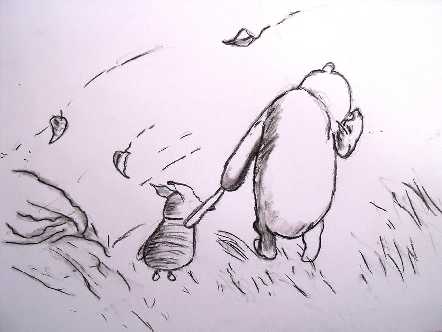Pooh And Piglet Drawing  - Pooh And Piglet Fine Art Print