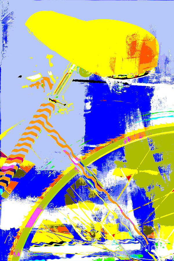 Pop Art Bicycle In Blue And Yellow Digital Art  - Pop Art Bicycle In Blue And Yellow Fine Art Print
