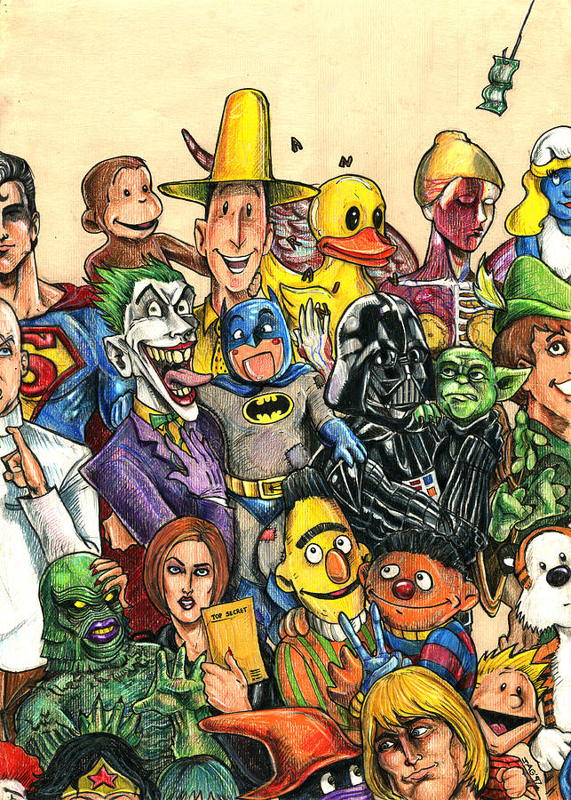 Pop Culture Ventriloquist Mashup Drawing  - Pop Culture Ventriloquist Mashup Fine Art Print