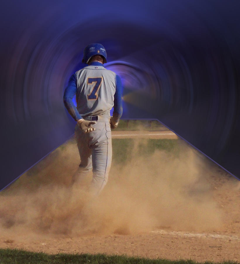Pop Slide At Third Base Photograph  - Pop Slide At Third Base Fine Art Print