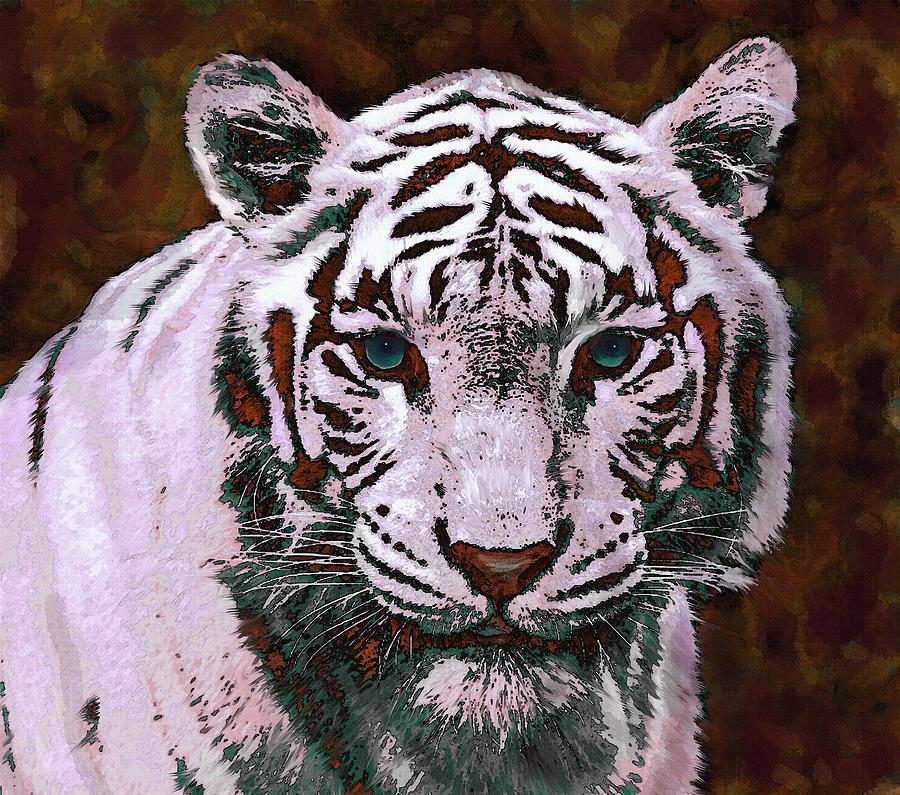 Tiger Digital Art - Popart White Tiger- Larger by Jane Schnetlage