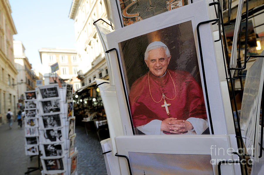 Pope Benedict Xvi. Postcard In A Rack. Rome. Lazio. Italy. Europe Photograph  - Pope Benedict Xvi. Postcard In A Rack. Rome. Lazio. Italy. Europe Fine Art Print