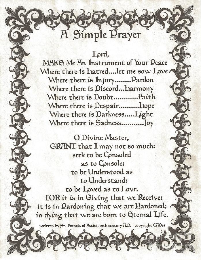 Pope Francis St. Francis Simple Prayer Faith On Fleury Mixed Media