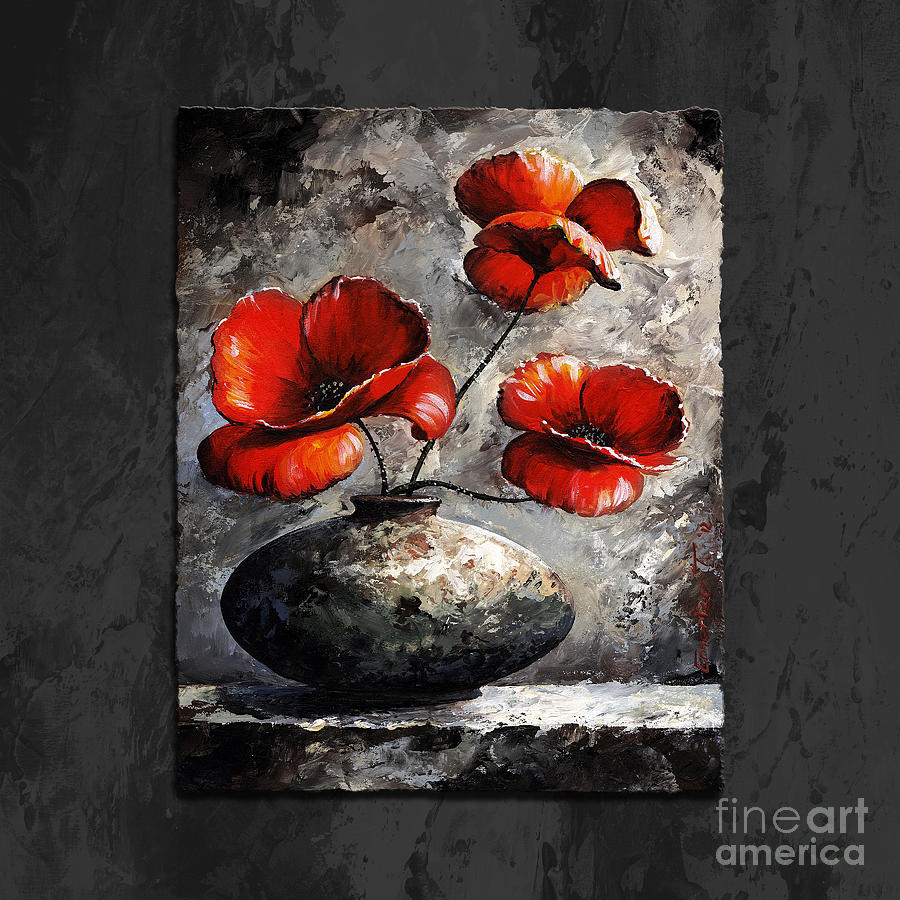 Poppies 02 style black white and red painting by emerico for Dark red paintings