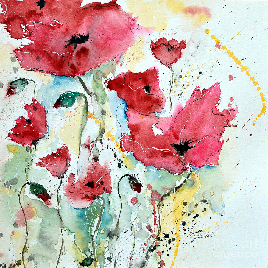 Poppies Painting - Poppies 05 by Ismeta Gruenwald