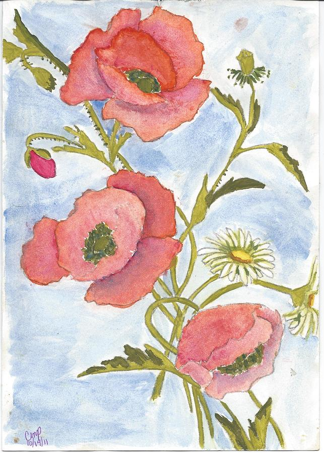 Poppies And Daisies Painting  - Poppies And Daisies Fine Art Print