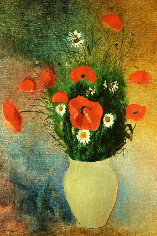 Flowers; Poppy; Daisy; Vase; Arrangement Painting - Poppies And Daisies by Odilon Redon