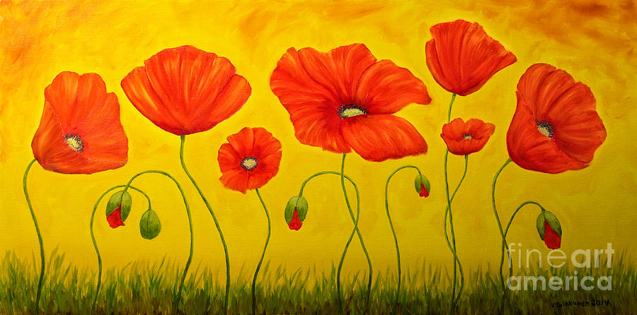 Art Painting - Poppies At The Time Of by Veikko Suikkanen