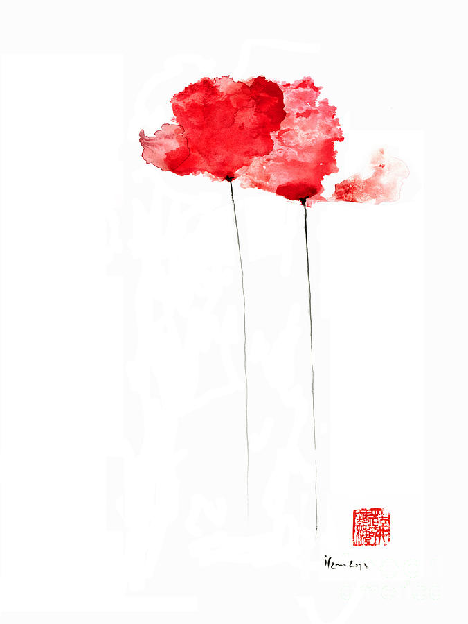 Poppies Flowers Orange Red Poppy Flower Watercolor ...