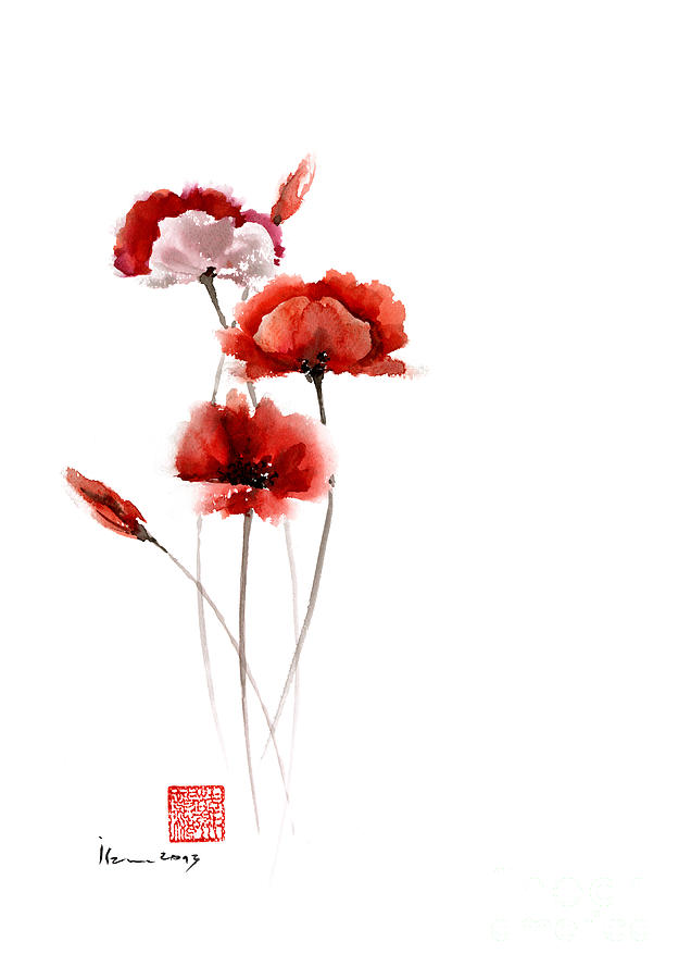 Poppies Flowers Pink Orange Red Poppy Flower Giclee Fine ...